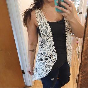 Boho Ivory Crochet and Mesh Lace Vest